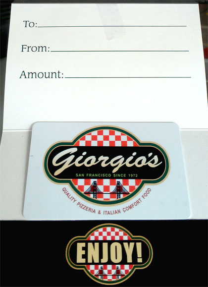 Giorgio's Pizza San Francisco Gift Cards